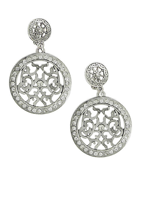 Erica Lyons Must Have Silver Disc Clip Earrings