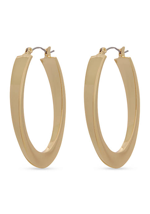Erica Lyons Gold-Tone Oval Hoop Earrings