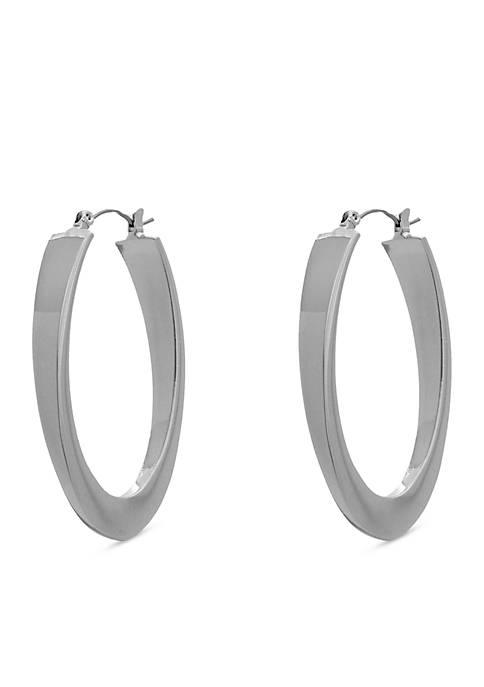 Erica Lyons Silver Tone Oval Hoop Earrings