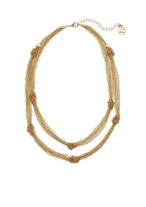Erica Lyons Gold Tone Knotted Chain Necklace