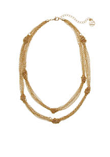 Gold Tone Knotted Chain Necklace