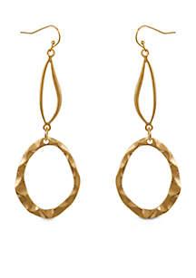 Gold Tone Metal Linear Pierced Earrings