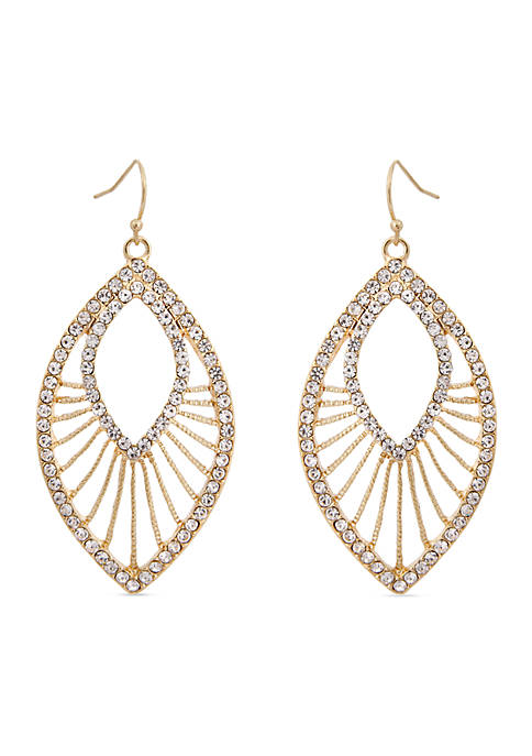 Erica Lyons Gold-Tone Crystal Teardrop Earrings