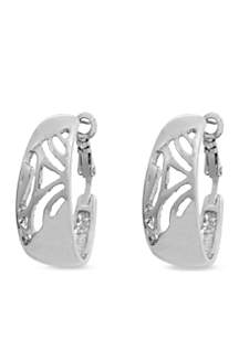 Silver-Tone Modern Design Hoop Clip Earrings