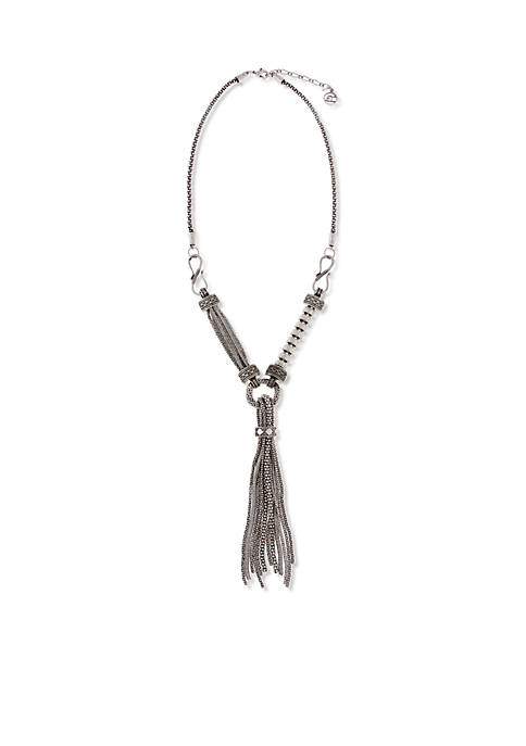 Erica Lyons Silver-Tone Hammer Necklace