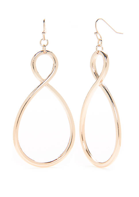 Rose Gold Tone Infinity Drop Earrings