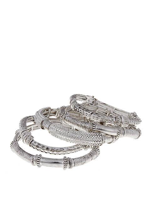 Erica Lyons Silver Tone Bangle Bracelet Set