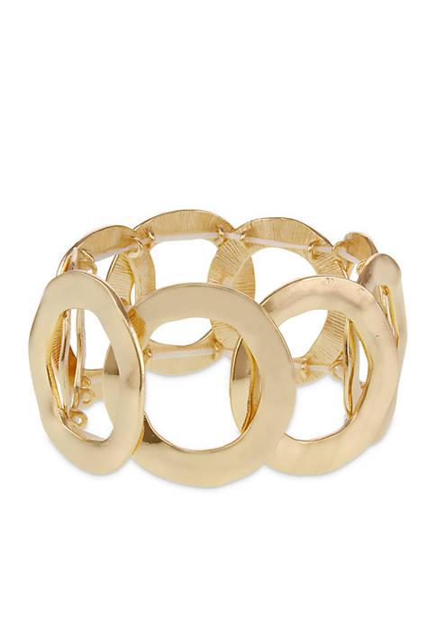 Erica Lyons Gold-Tone Open Circle Metal Stretch Bracelet