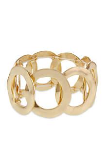 Gold-Tone Open Circle Metal Stretch Bracelet