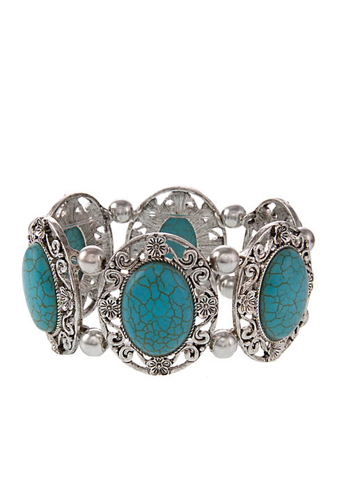 Erica Lyons Silver-Tone Turquoise Stretch Bracelet
