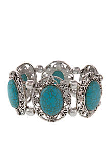 Silver-Tone Turquoise Stretch Bracelet