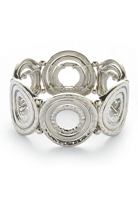 Silver Tone Alternating Textured and Polished Circle Stretch Bracelet
