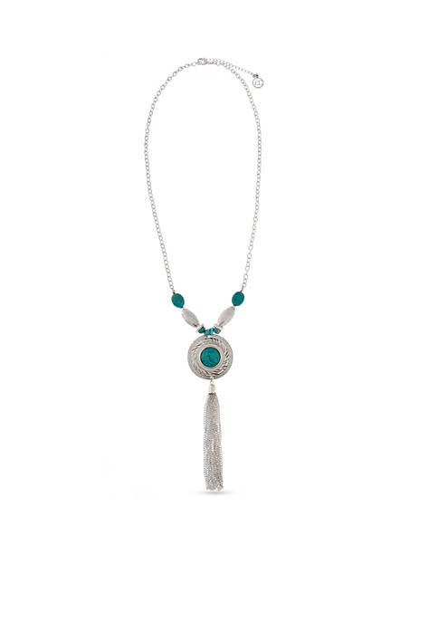 Silver- Toned Go West Long Tassel Necklace