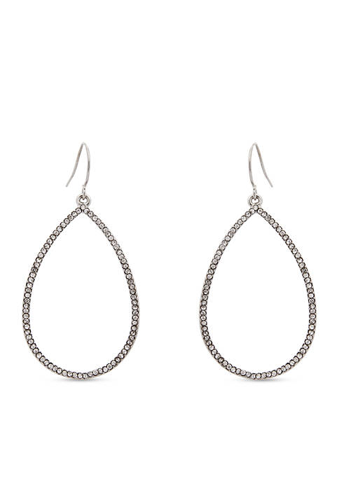 Erica Lyons Silver-Tone Open Teardrop Earrings