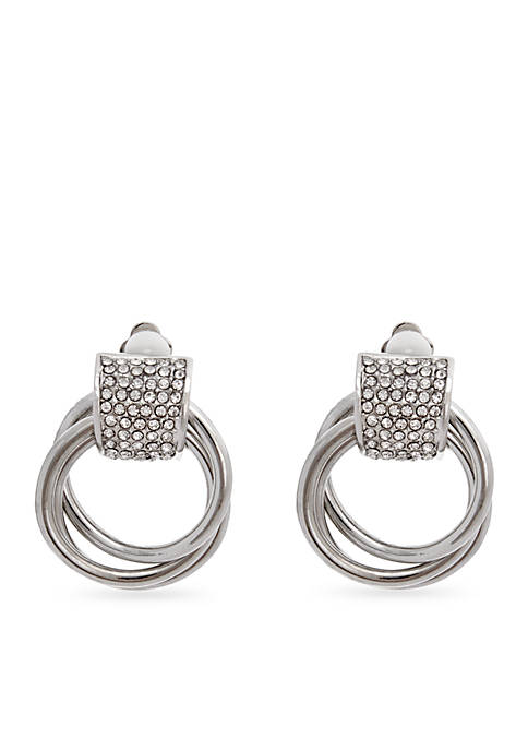 Erica Lyons Silver-Tone Door Knocker Clip Earrings