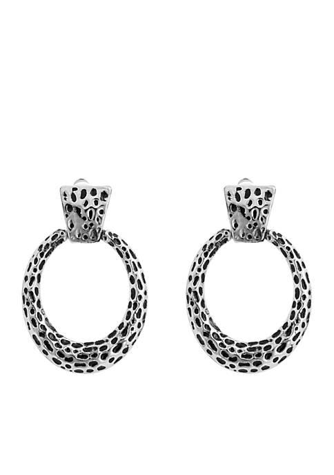 Silver Tone Door Knocker Clip Earrings