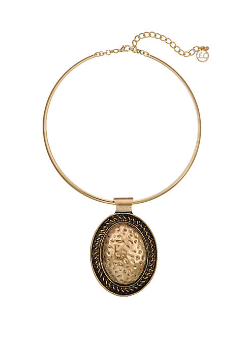 Erica Lyons Oval Pendant Gold Tone Collar Necklace