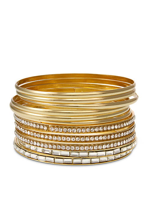 Erica Lyons Gold Tone Metal Multi Bangle Bracelets