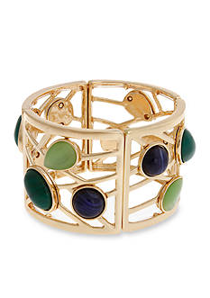 Erica Lyons Gold-Tone Mid Summer Night Green Stretch Bangle Bracelet