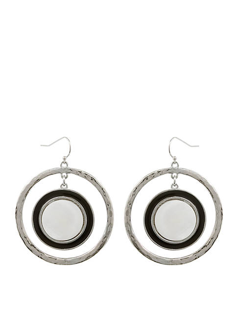 Erica Lyons Silver-Tone Domino Effect Orbital Pierced Earrings