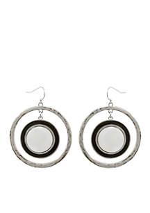 Silver-Tone Domino Effect Orbital Pierced Earrings