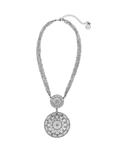 Erica Lyons Silver Tone Filigree Pendant Necklace