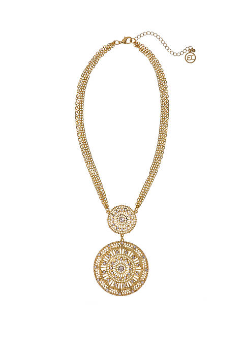 Erica Lyons Gold Tone Filigree Casting Pendant Necklace