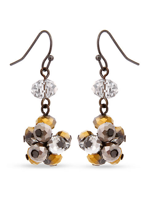 Hematite-Tone Meet Me In Glitzerland Bead Cluster Drop Earrings