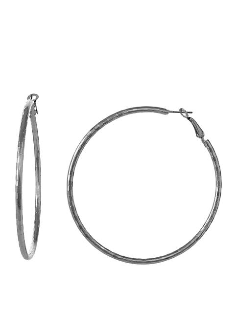 Erica Lyons Silver-Tone Metal Pierced Hoop Earrings