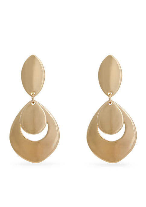 Erica Lyons Gold-Tone Double Drop Clip Earrings