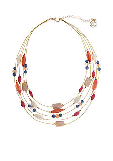 Erica Lyons Gold Tone Cool Coral Illusion Necklace