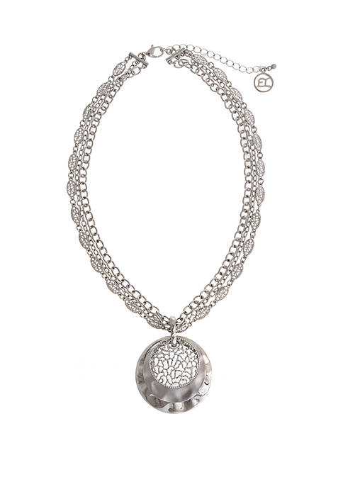 Erica Lyons Silver Tone Disc Pendant Necklace