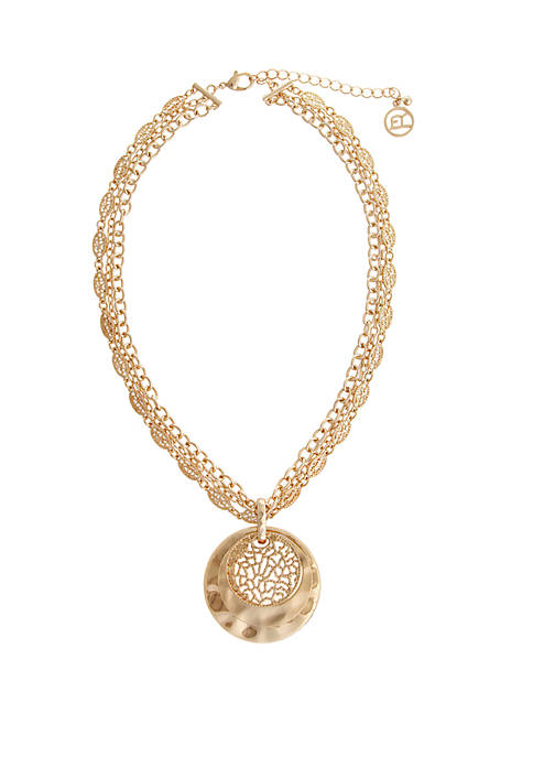 Erica Lyons Gold Tone Disc Pendant Necklace