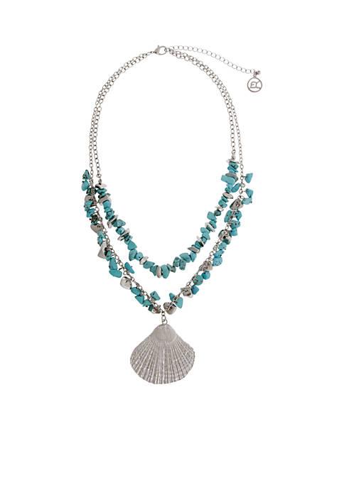 Silver-Tone Sea Life Seashell Pendant Necklace