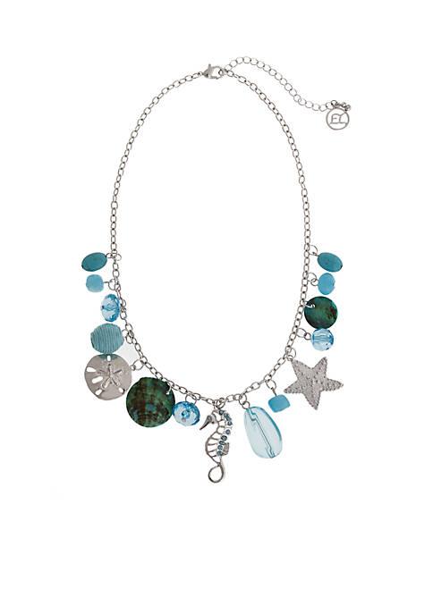 Silver-Tone Sea Life Charm Pendant  Necklace