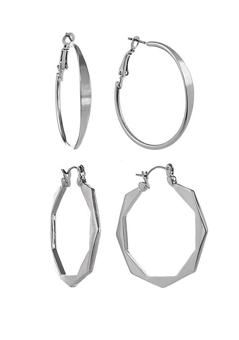 Silver Tone Flat Front and Octagon Shape Hoop Earring Set