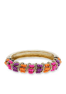 Erica Lyons Gold-Tone Rock The Casbah Beaded Bangle Bracelet