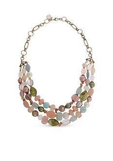 Erica Lyons Gold-Tone Making Me Blush Multi-Strand Beaded Necklace