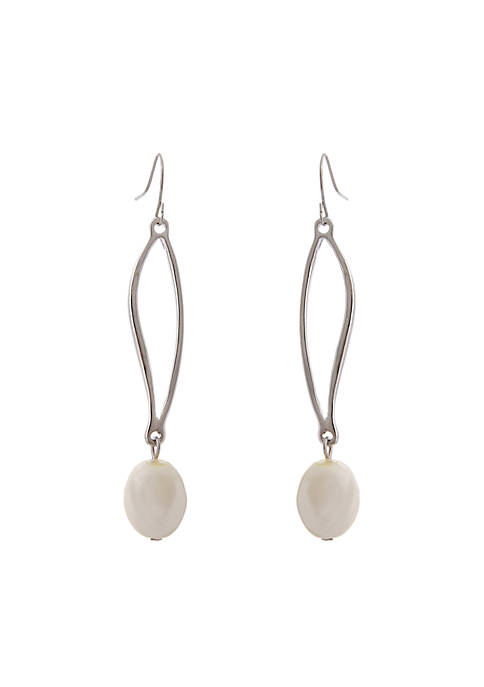 Erica Lyons Silver-Tone Pearl Drop Earrings