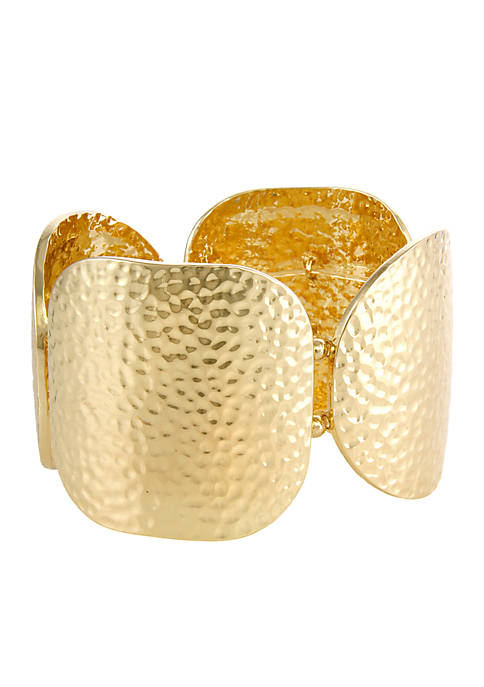 Erica Lyons Gold-Tone Hammered Squares Stretch Bracelet