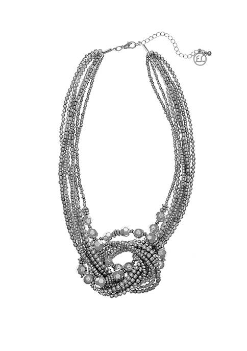 Silver Tone Beaded Knot Necklace