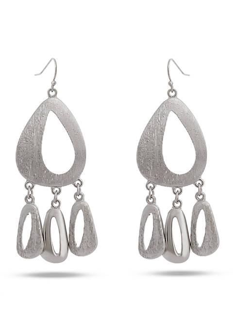 Erica Lyons Silver Tone Silver Streak Drop Necklace