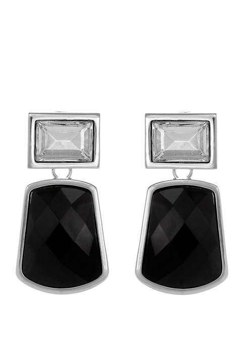 Erica Lyons Silver Tone Drop Earrings with Square