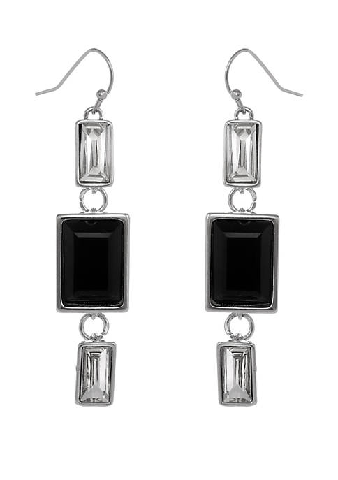 Erica Lyons Silver Tone Linear Earrings with Crystal