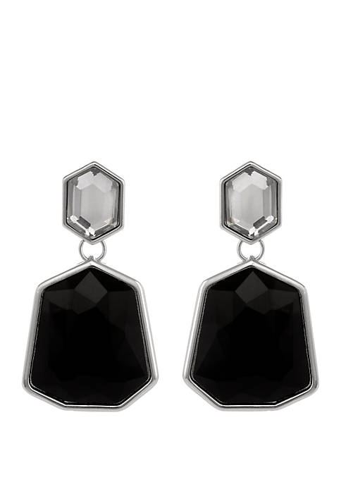 Erica Lyons Silver Tone Crystal and Black Stone