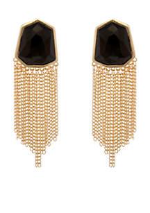 Black and Gold Chain Tassel Earrings