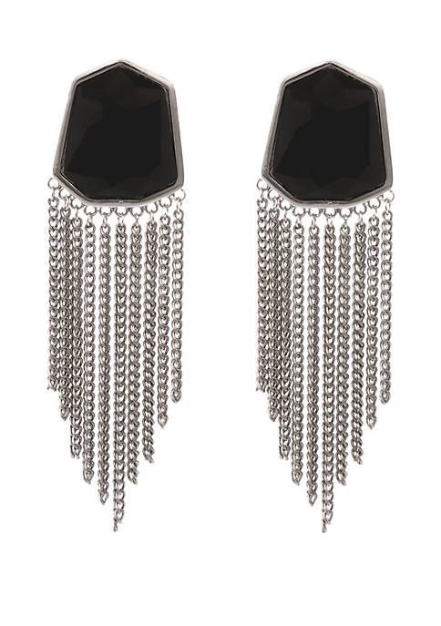 Silver Tone Clip Earrings with Faceted Stone and Curb Chain Fringe