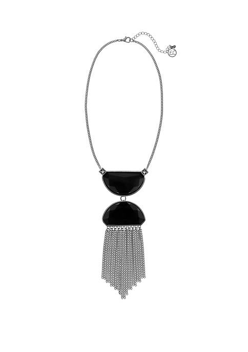 Erica Lyons Silver Tone Black Stone Pendant Necklace