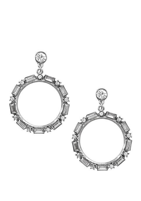 Silver Tone Ring Earrings with Rectangle Crystal Stones
