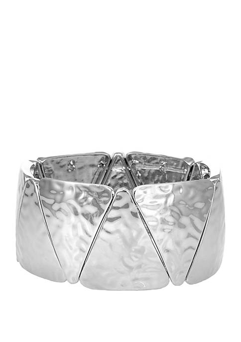 Erica Lyons Silver Tone Hammered Casting Stretch Bracelet